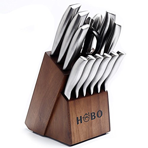 Knife Set Hobo 14 Piece Kitchen Knife Set With Block Wooden Self