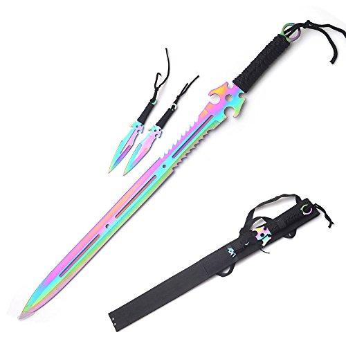 2 PC Set Full Tang 2 Tone RED Blade Straight Ninja Sword with Sheath NEW