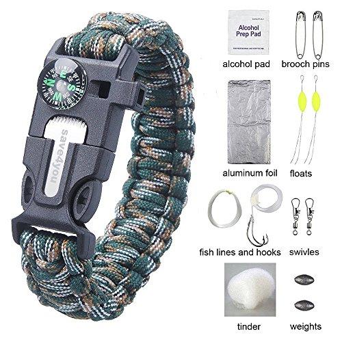 Hard-Shelled Pack of 12 Oil Filled Blackett Paracord Bracelet Survival Compass