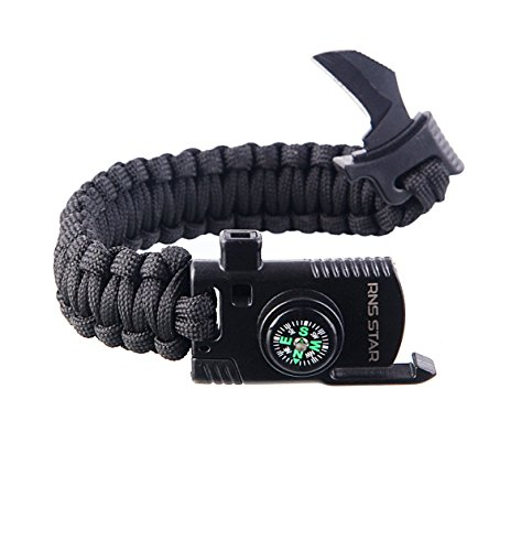 With Survival Whistle Gradient Gear 7-in-1 Multi-Tool Glow-in-the-Dark Fire Starter with Paracord /& Ferro Rod Fire Steel and Luminous Handle Serrated Scraper and Ruler Bottle Opener