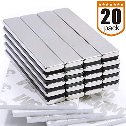 FEYG Neodymium Bar Magnet Super Strong Rare Earth Magnets Used on Magnetic /& Non-Magnetic Surface with 5 Pcs Adhesive Backing