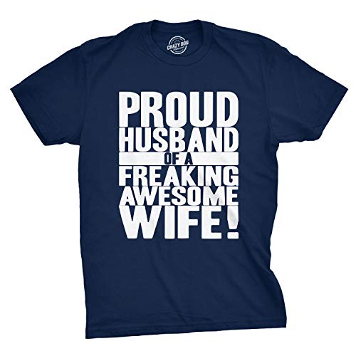 b7c92ac9 Crazy Dog T-Shirts Mens Proud Husband of a Freaking Awesome Wife Funny  Valentines Day T Shirt Navy - L