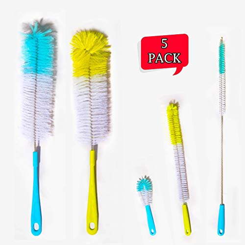 MChoice❤️Long Handle Flexible Bottle Cleaning Brush Kitchen Thermos Teapot Cleaner Tool Yellow