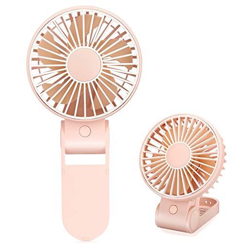 Mini Handheld Fan,2pcs USB Rechargeable Fan,Small Desk Fan 270 Degree Folding,Personal Fans for Study,Office,Dormitory Blue and Purple